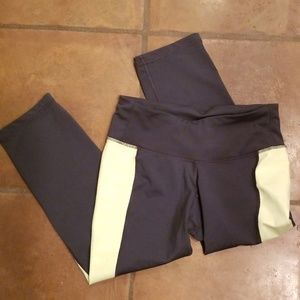 Old Navy Active gray and yellow workout capris